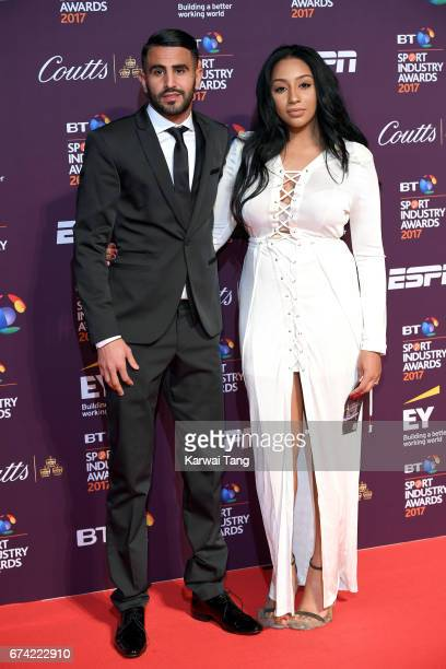 Riyad Mahrez and Rita Johal attend the BT Sport Industry Awards at Battersea Evolution on April 27 2017 in London England