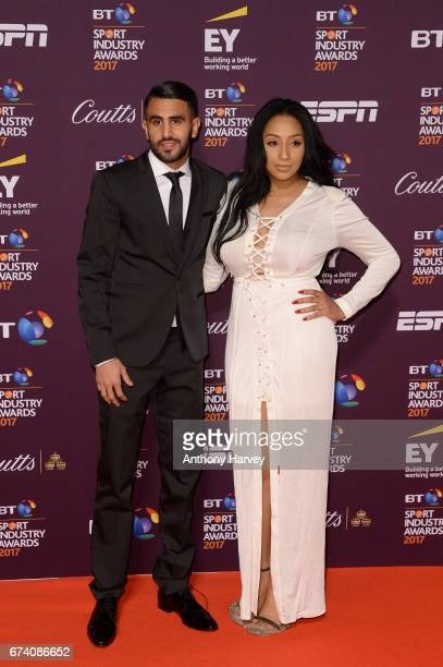 Riyad Mahrez and wife Rita pose on the red carpet during the BT Sport Industry Awards 2017 at Battersea Evolution on April 27 2017 in London England...