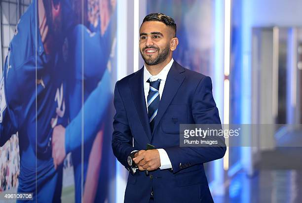 Riyad Mahrez arrives during the Barclays Premier League match between Leicester City and Watford at the King Power Stadium on November 7th 2015 in...