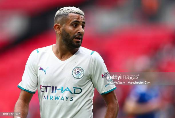 Riyad Mahrez during the FA Community Shield match between Manchester City and Leicester City at Wembley Stadium on August 07, 2021 in London, England.