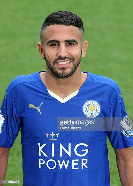 Riyad Mahrez during the Leicester City photo call at King Power Stadium on October 23 2015 in Leicester United Kingdom