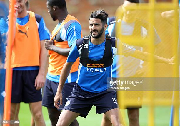 Riyad Mahrez during the Leicester City Training and Press Conference at Belvoir Drive Training Complex on August 05 2016 in Leicester United Kingdom