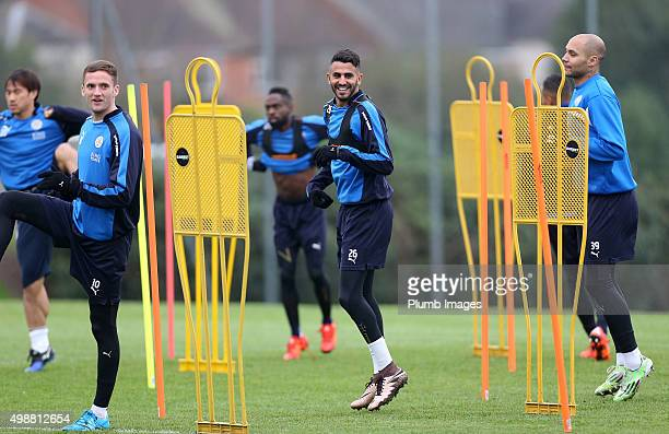 Riyad Mahrez during the Leicester City training session at Belvoir Drive Training Complex on November 26th 2015 in Leicester United Kingdom