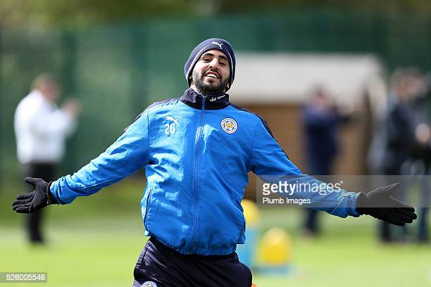 Riyad Mahrez during the Leicester City training session at Belvoir Drive Training Complex on April 29 2016 in Leicester United Kingdom