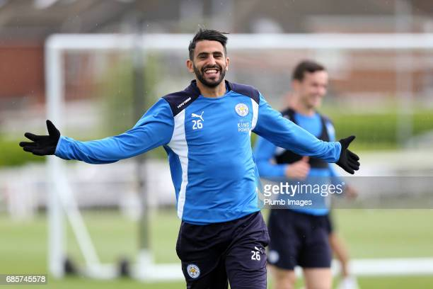 May 20: Riyad Mahrez during the Leicester City training session at Belvoir Drive Training Complex on May 20 , 2017 in Leicester, United Kingdom.
