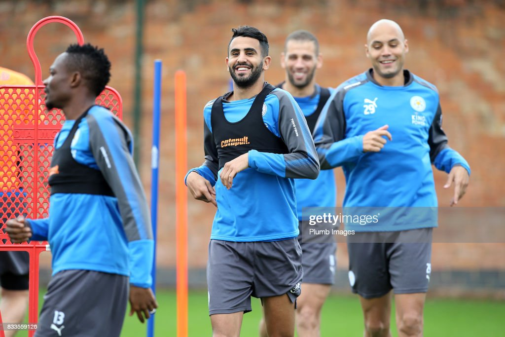 Riyad Mahrez during the Leicester City training session at Belvoir Drive Training Complex on August 17 , 2017 in Leicester, United Kingdom.