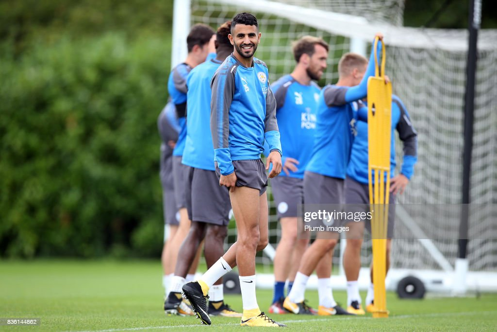 Riyad Mahrez during the Leicester City training session at Belvoir Drive Training Complex on August 21 , 2017 in Leicester, United Kingdom.