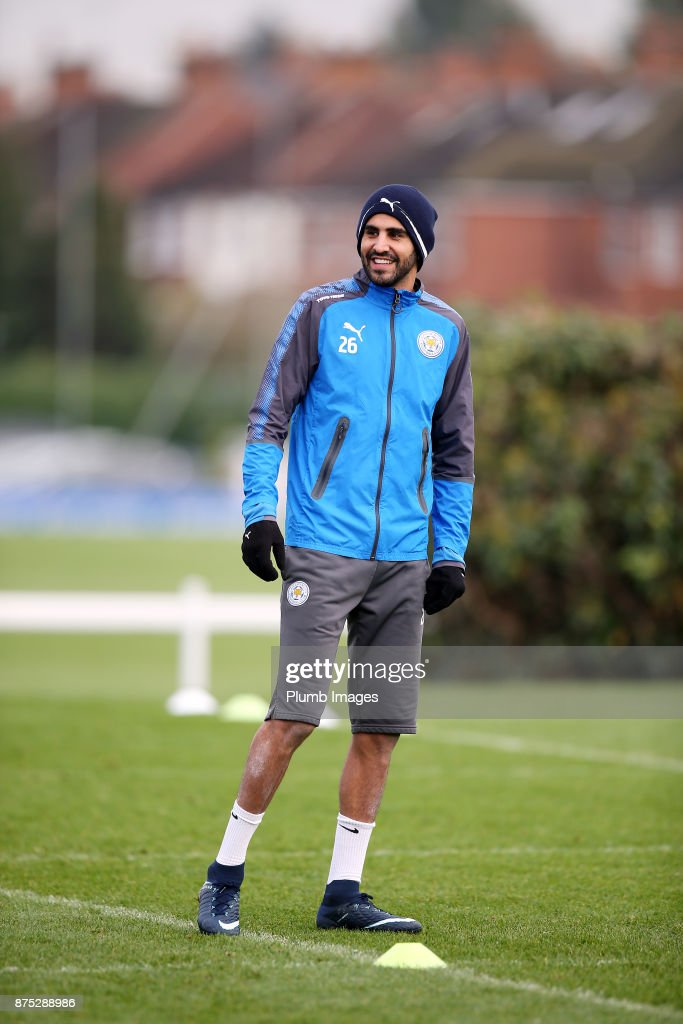 Riyad Mahrez during the Leicester City training session at Belvoir Drive Training Complex on November 17 , 2017 in Leicester, United Kingdom.