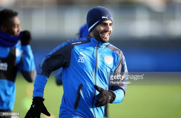 Riyad Mahrez during the Leicester City training session at Belvoir Drive Training Complex on December 11 2017 in Leicester United Kingdom