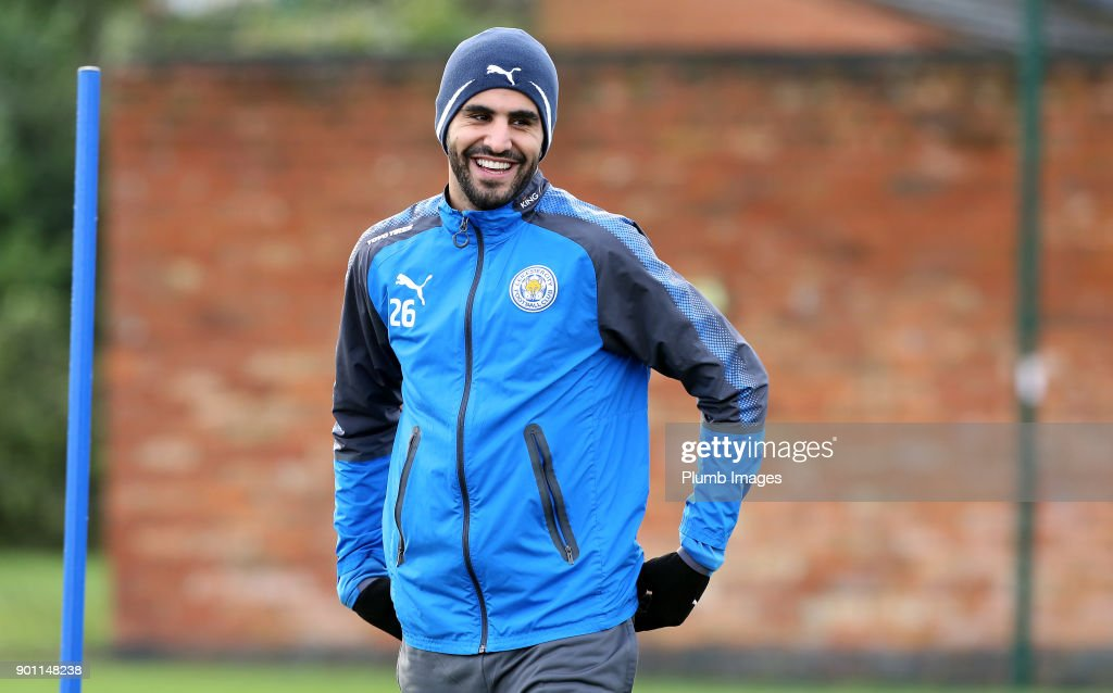 Riyad Mahrez during the Leicester City training session at Belvoir Drive Training Complex on January 04 , 2018 in Leicester, United Kingdom.