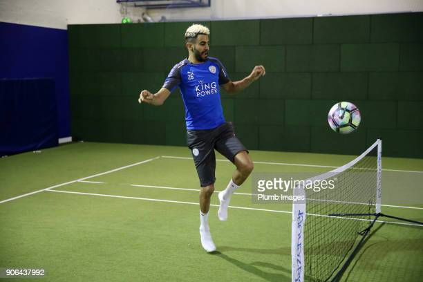 Riyad Mahrez during the Leicester City training session at Belvoir Drive Training Complex on January 18 2018 in Leicester United Kingdom
