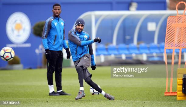 Riyad Mahrez during the Leicester City training session at Belvoir Drive Training Complex on February 14 2018 in Leicester United Kingdom