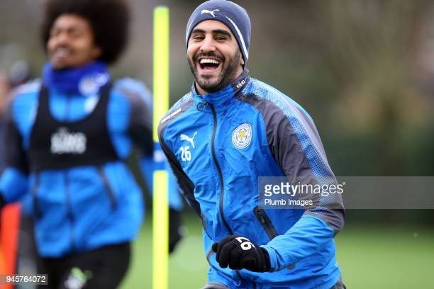 Riyad Mahrez during the Leicester City training session at Belvoir Drive Training Complex on April 13 2018 in Leicester United Kingdom