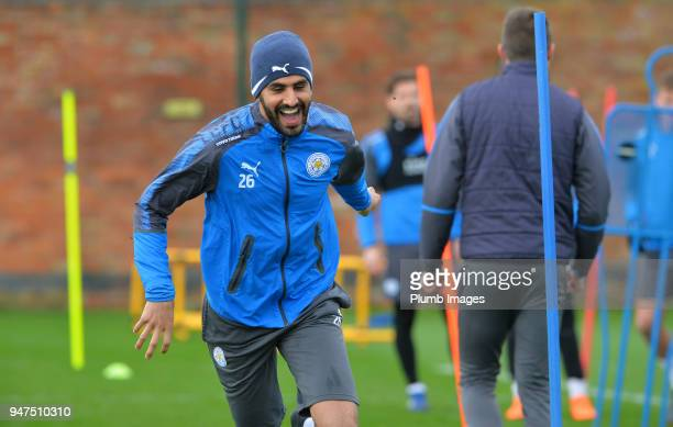 Riyad Mahrez during the Leicester City training session at Belvoir Drive Training Complex on April 05 2018 in Leicester United Kingdom