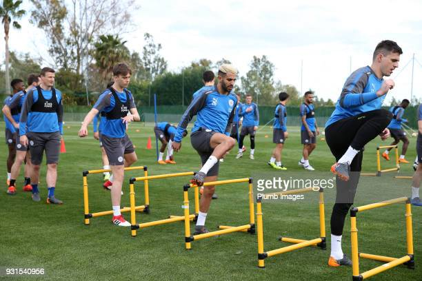 Riyad Mahrez during the Leicester City training session at the Marbella Soccer Camp Complex on March 13 2018 in Marbella Spain