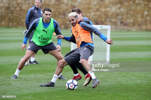 Riyad Mahrez during the Leicester City training session at the Marbella Soccer Camp Complex on March 14 2018 in Marbella Spain