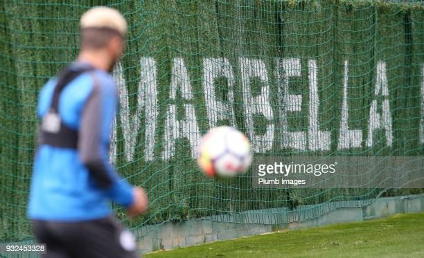 Riyad Mahrez during the Leicester City training session at the Marbella Soccer Camp Complex on March 15 2018 in Marbella Spain