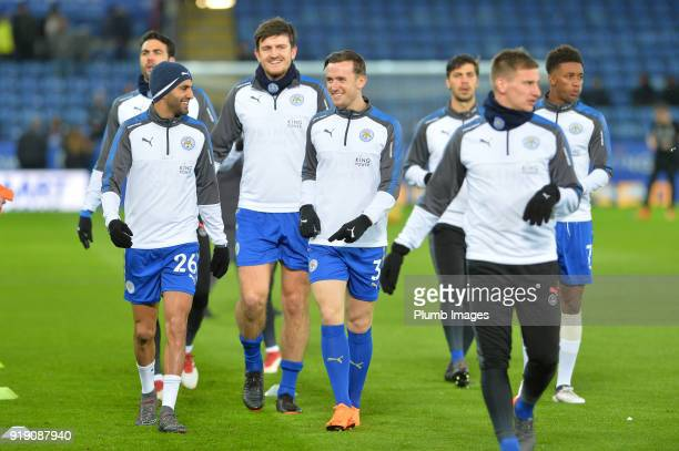 Riyad Mahrez Harry Maguire and Ben Chilwell of Leicester City warm up at King Power Stadium ahead of the FA Cup fifth round match between Leicester...