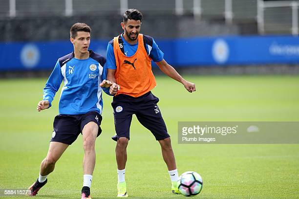 Riyad Mahrez holds off Bartosz Kapustka during the Leicester City training session at Belvoir Drive Training Complex on August 11 2016 in Leicester...