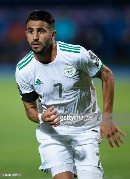 Riyad Mahrez of Algeria celebrates his goal during the 2019 Africa Cup of Nations Round of 16 match between Algeria and Guinea at 30th June Stadium...