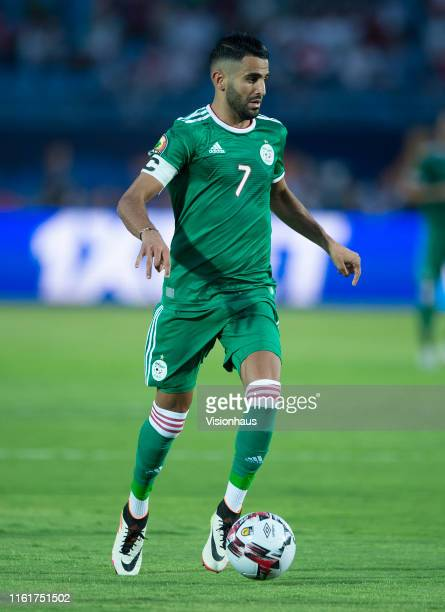 Riyad Mahrez of Algeria during the 2019 Africa Cup of Nations quarterfinal match between Ivory Coast and Algeria at Suez Stadium on July 11 2019 in...