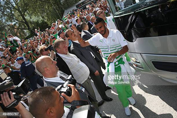 Riyad Mahrez of Algeria leaves the team bus prior to the international friendly match between Algeria and Armenia at Estadio Tourbillon on May 31...