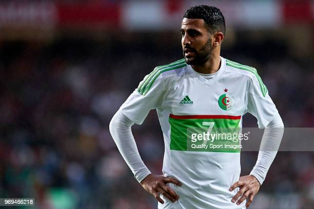 Riyad Mahrez of Algeria looks on during the friendly match of preparation for FIFA 2018 World Cup between Portugal and Algeria at the Estadio do...