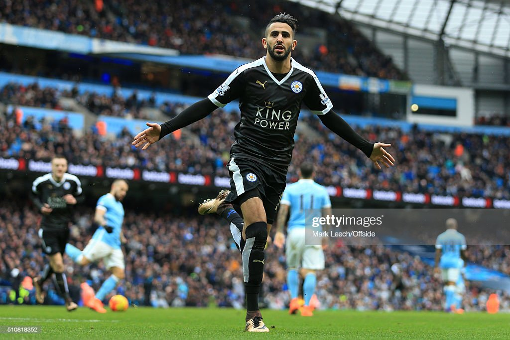 Riyad Mahrez of Leicester celebrates after scoring their 2nd goal during the Barclays Premier League match between Manchester City and Leicester City at the Etihad Stadium on February 6, 2016 in Manchester, England.