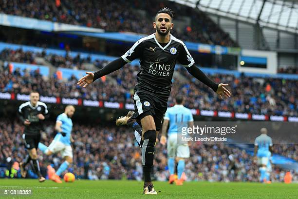 Riyad Mahrez of Leicester celebrates after scoring their 2nd goal during the Barclays Premier League match between Manchester City and Leicester City...