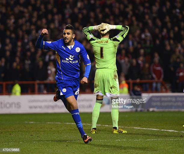 Riyad Mahrez of Leicester celebrates scoring to make it 22 during the Sky Bet Championship match between Nottingham Forest and Leicester City at the...
