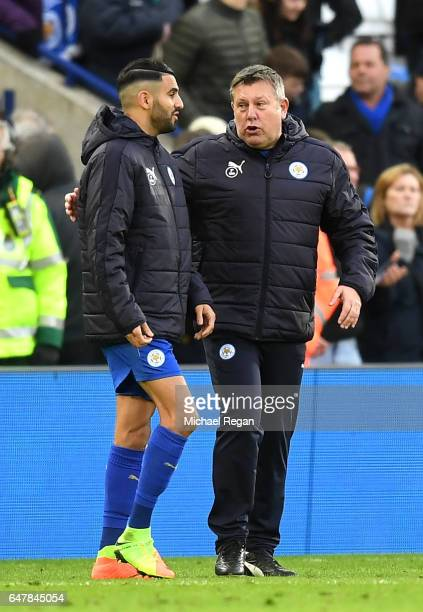 Riyad Mahrez of Leicester City and Craig Shakespeare caretaker manager of Leicester City speak after the Premier League match between Leicester City...