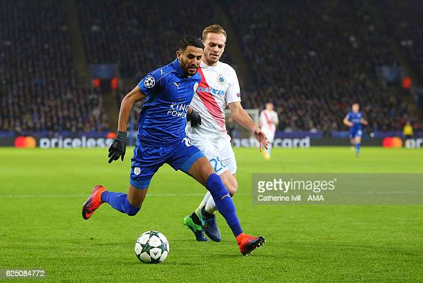 Riyad Mahrez of Leicester City and Laurens De Bock of Club Brugge during the UEFA Champions League match between Leicester City FC and Club Brugge KV...