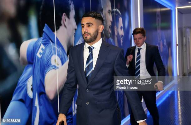 Riyad Mahrez of Leicester City arrives ahead of the Premier League match between Leicester City and Liverpool at King Power Stadium on February 27...