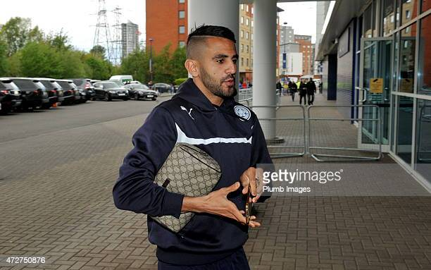 Riyad Mahrez of Leicester City arrives at King Power Stadium ahead of the Premier league match between Leicester City and Southampton at The King...