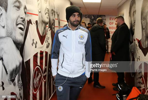 Riyad Mahrez of Leicester City arrives at St Mary's Stadium ahead of the Premier League match between Southampton and Leicester City at St Mary's...