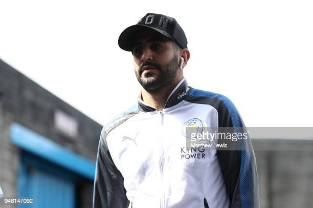 Riyad Mahrez of Leicester City arrives at the stadium prior to the Premier League match between Burnley and Leicester City at Turf Moor on April 14...