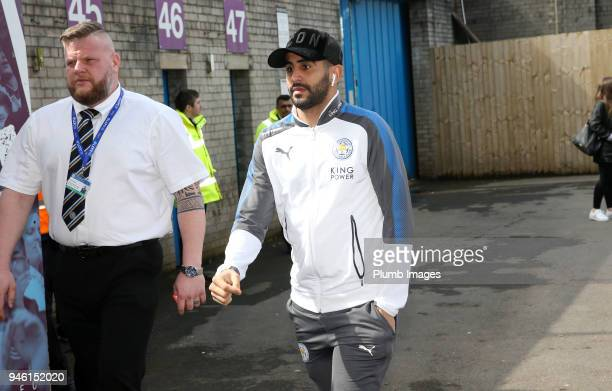 Riyad Mahrez of Leicester City arrives at Turf Moor ahead the Premier League match between Burnley and Leicester City at Turf Moor on April 14th 2018...