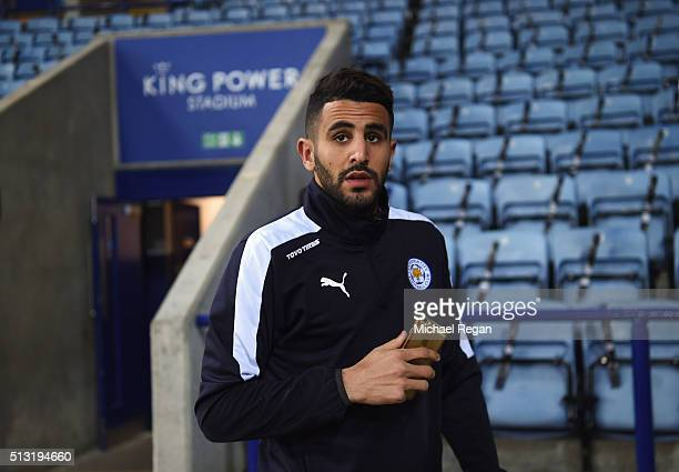 Riyad Mahrez of Leicester City arrives for the Barclays Premier League match between Leicester City and West Bromwich Albion at The King Power...