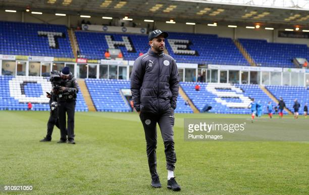 Riyad Mahrez of Leicester City at ABAX Stadium ahead of The Emirates FA Cup Fourth Round tie between Peterborough United and Leicester City at ABAX...