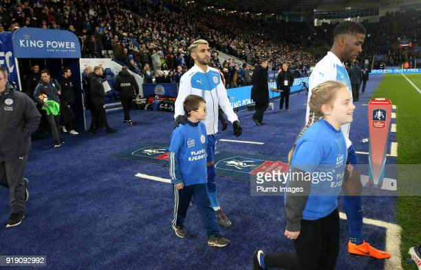 Riyad Mahrez of Leicester City at King Power Stadium ahead of the FA Cup fifth round match between Leicester City and Sheffield United at King Power...
