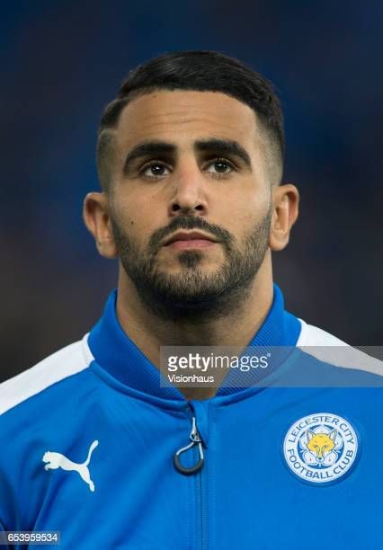 Riyad Mahrez of Leicester City before the UEFA Champions League Round of 16 second leg match between Leicester City and Sevilla FC at The King Power...