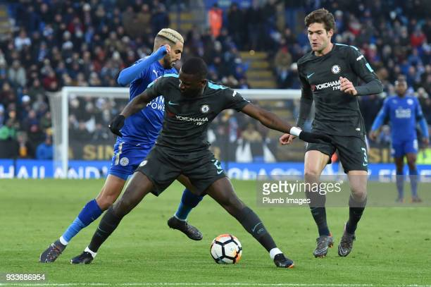 Riyad Mahrez of Leicester City can't get past Antonio Rudiger of Chelsea during the FA Cup Sixth round match between Leicester City and Chelsea at...