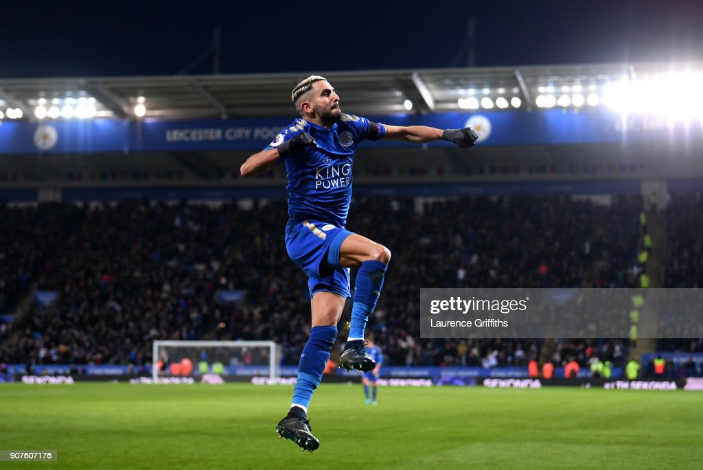 Riyad Mahrez of Leicester City celebrates after scoring his sides second goal during the Premier League match between Leicester City and Watford at The King Power Stadium on January 20, 2018 in Leicester, England.
