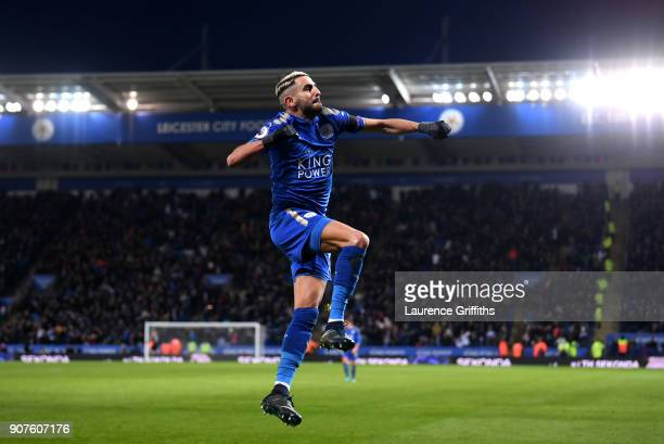 Riyad Mahrez of Leicester City celebrates after scoring his sides second goal during the Premier League match between Leicester City and Watford at...
