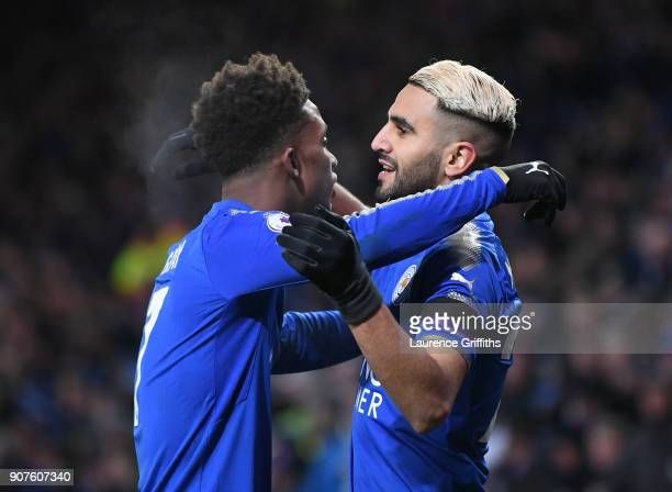 Riyad Mahrez of Leicester City celebrates after scoring his sides second goal with Demarai Gray of Leicester City during the Premier League match...