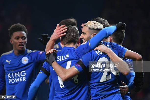 Riyad Mahrez of Leicester City celebrates after scoring his sides second goal with his team mates during the Premier League match between Leicester...