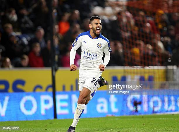 Riyad Mahrez of Leicester City celebrates after scoring in extra time to make it 01 during the Capital One Cup fourth round match between Hull City...