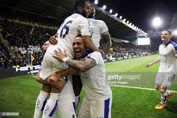 Riyad Mahrez of Leicester City celebrates after scoring to make it 01 during the Premier League match between Watford and Leicester City at Vicarage...