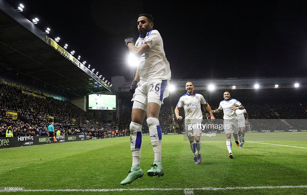 Riyad Mahrez of Leicester City celebrates after scoring to make it 0-1 during the Premier League match between Watford and Leicester City at Vicarage Road on March 05, 2016 in Watford, United Kingdom.