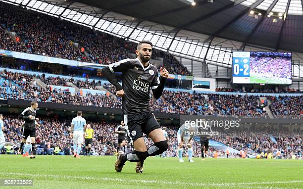Riyad Mahrez of Leicester City celebrates after scoring to make it 02 during the Premier League match between Manchester City and Leicester City at...